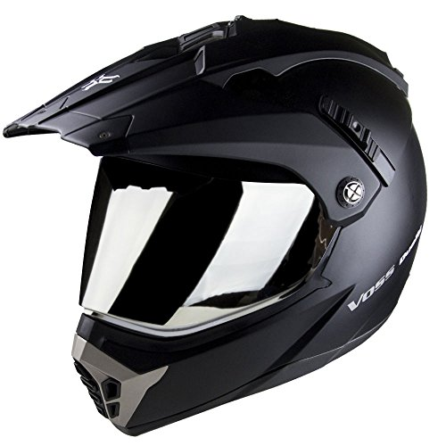 - Voss 600 Dually Dual Sport Helmet with Integrated Sun Lens and Removable Peak. DOT - XL - Matte Black