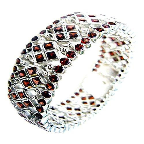 Jewelryonclick Genuine 925 Sterling Silver Garnet Bangle Bracelets Cluster Style Jewelry Size 6.5-8 Inch (Cluster Genuine Garnet)