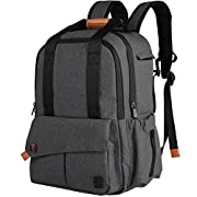 Ferlin Multi-function Large Baby Diaper Bag Backpack W/Insulated Pockets-Changing Pad, Stylish & Durable with Anti-Water Material (0723-Darkgray)
