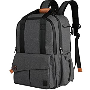 Ferlin Diaper Bag Backpack Designer W/Insulated Pockets-Changing Pad, Stylish & Durable with Anti-Water Material (0723-Darkgray)