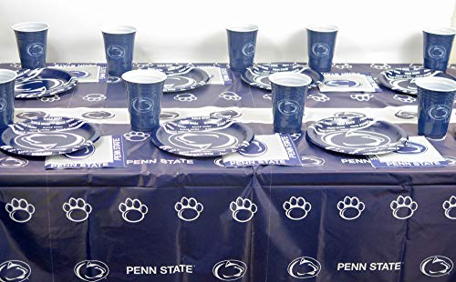 Penn State Graduation Party Plates, Napkins, Jumbo Cup and a Tablecloth, 49 Pieces Set.
