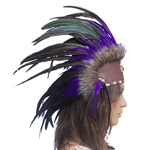 [Unique Feather Headdress- Native American Indian Inspired- Handmade by Artisan Halloween Costume for Men Women with Real Feathers - Purple with Stone] (India Costume Female)