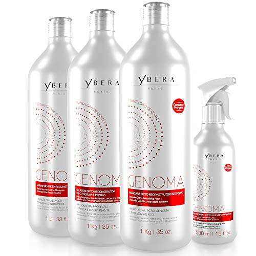 Ybera Genoma Cortex Transfusion Therapy | Restores the DNA of the Capillary Fiber | Renews the Cortex of the Strand to its Original State | Softness, Shine and Restructure Roots to Ends | Set of 4 (Keratin Treatment For Black Hair Without Formaldehyde)