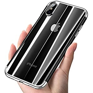 iPhone X Case, COOLQO [Support Wireless Charging] Ultra-thin Crystal Clear Soft Flexible TPU Bumper Slim Electroplating Transparent Protective Cover & Skin For Apple iPhone 10 / X 5.8 inch (Silver)