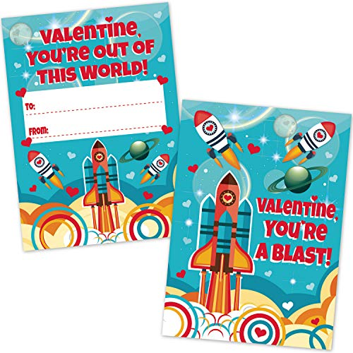 (32 Valentine Classroom Party Exchange Cards (32 Count with Envelopes) - Outer Space Rocket Ship Design - Large Size - Heavy Weight CardStock - Kids Valentine's Day Party Supplies for Boys and Girls)