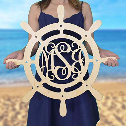 SALE 12-36 inch Ship Wheel Monogram - Wood Monogram - Wedding Monogram - Wooden Initials - Navy Decor - Boathouse - All Aboard - Nautical Decor- Door ()
