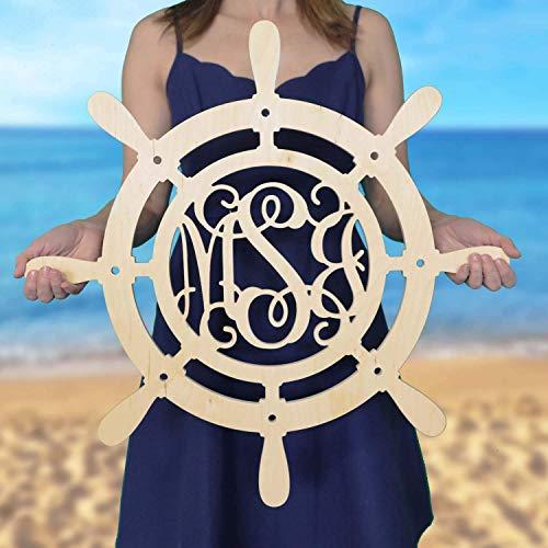 SALE 12-36 inch Ship Wheel Monogram - Wood Monogram - Wedding Monogram - Wooden Initials - Navy Decor - Boathouse - All Aboard - Nautical Decor- Door Hanger ()