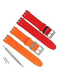 19mm reemplazo de goma correa de reloj de banda de silicona impermeables, Naranja+Rojo