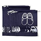 Selric [5XL and 5L / Women and Men] Pack of 10 Breathable Non-woven Travel Storage Shoes Bags Organizer Drawstring Bags with Clear PVC Viewing Window