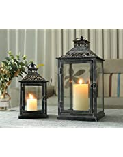 JHY DESIGN Set of 2 Antique Grey Brush Decorative Lanterns Metal Candle Lanterns for Indoor Outdoor Events Paritie and Weddings Vintage Style Christmas Halloween Hanging Lantern