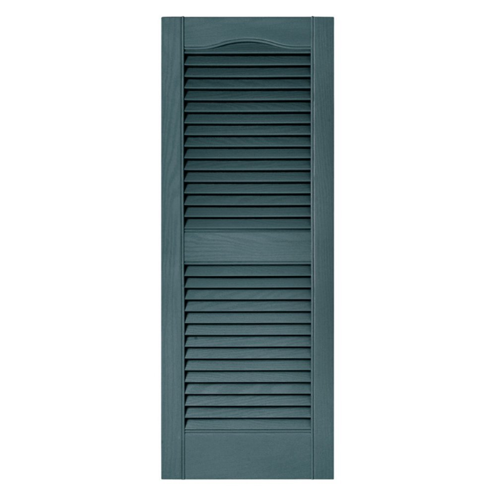 15 in. x 80 in. Louvered Shutters Pair #004 Wedgewood Blue