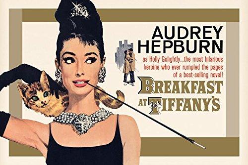 Breakfast at Tiffanys Audrey Hepburn Holly Golightly Romantic Comedy Movie Film Gold Poster - Cat The Tiffany