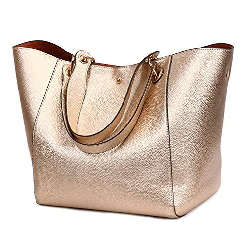 - Pahajim fashion PU leather Bucket bag Waterproof handbags women tote bags shoulder bag (Rose gold)