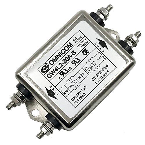 Noise Suppressor Power EMI Filter Termianl Single-Phase Line-Conditioner JREle AC 115/250V 20A CW4L2-20A-S ()