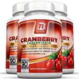 BRI Nutrition 3x Strength 12,600mg CranGel Power Plus: High Potency, Maximum Strength Cranberry SoftGel Capsules Fortified with Vitamins C and Natural E - 90 Softgels 3-PK