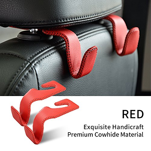 Universal Car Vehicle Seat Back Headrest Hanger Hook Holder with Leather & Aluminum Alloy for Bag Purse Cloth Drink Grocery Red