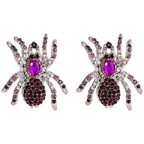 EVER FAITH Halloween Austrian Crystal Tarantula Spider Pierced Stud Earrings Purple Silver-Tone