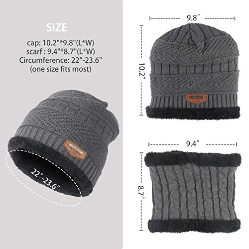 VVA Winter Knit Beanie Hat Scarf Set 2 Warm Knit Hat Thick Knit Skull Cap for Men Women (Grey) - http://coolthings.us