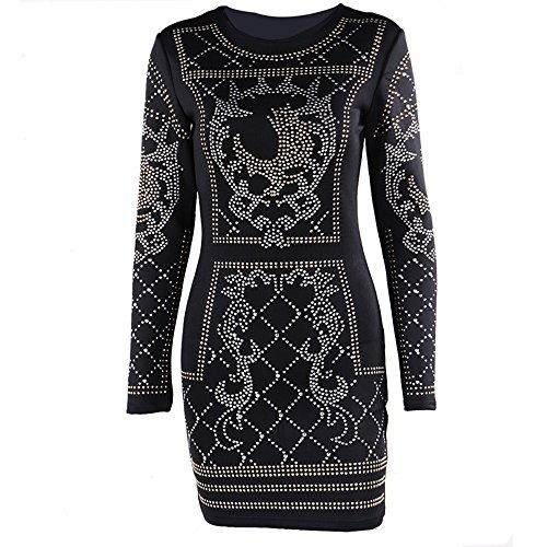 3a6b268d711d Miss ord Women's Long Sleeve Halter Studded Casual Mini Dress with Zipper  Black Small