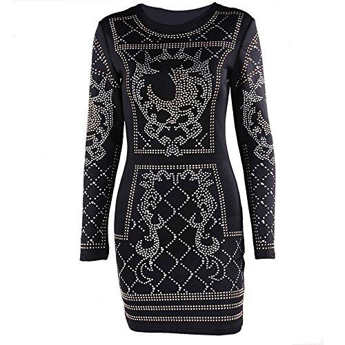 cf17df12c9f3 Miss ord Women's Long Sleeve Halter Studded Casual Mini Dress with Zipper  Black Small