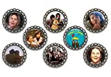 Set of 8 Harold and Maude themed bottle cap magnets.