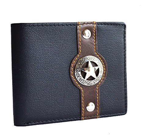 western men brown texas star concho bi-fold small hipster slim leather coin wallet (BLACK)