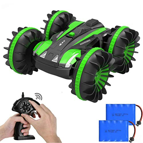 - Auimi Remote Control Car Boat Truck - 2.4Ghz 4WD Waterproof Electric RC Cars - 1/16 Scale Double Sided Amphibious Vehicle with 360 Degree Spins and Flips - Green