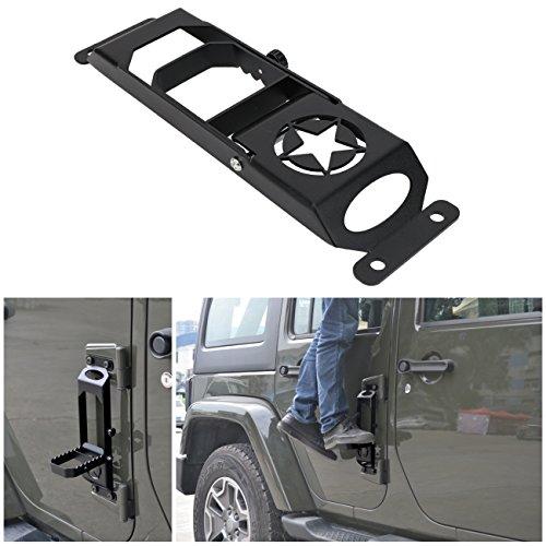 Door Steps Door Hinges for Jeep Wrangler JK 2007-2017, BOXATDOOR Foot Pedal Peg Military Star Black Metal Solid Steel (Off Wrangler Road)