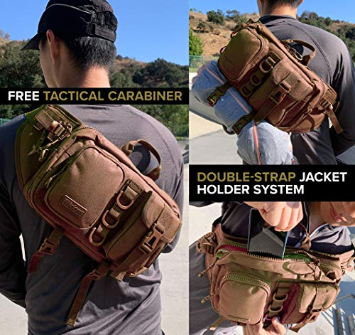 Fitdom Tactical Sling Bag for Men. Made from Heavy Duty Nylon & Built Tough for Outdoor. Also Use As EDC, Backpack, Fanny Waist Pack, Crossbody, Shoulder or Chest Bag for Travel Cycling