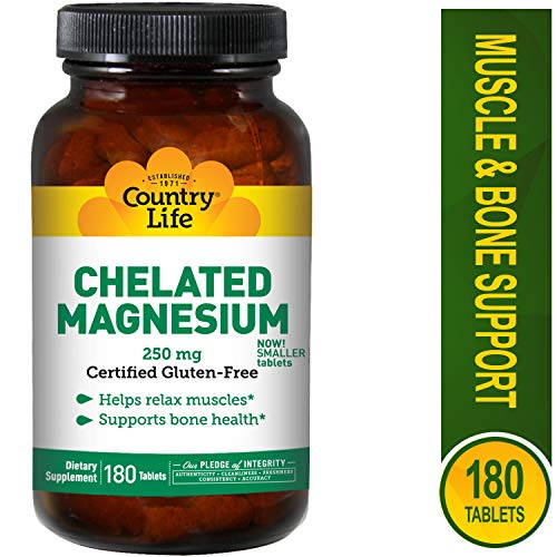 Country Life, Chelated Magnesium, 250 Mg, 180 Tablets