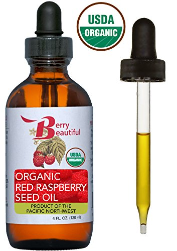Certified Organic Red Raspberry Seed Oil - Cold Pressed by Berry Beautiful from Organically grown Raspberries - 100% Pure & Unrefined (4 fl oz)