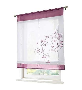 BAILEY JO 1Pc Store Romain Transparent LxH 60x120cm Passe Tringle Broderie  Fleur Violet Rideau Voilage 5673d03490c0
