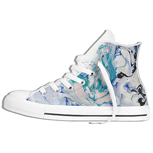 Baskets Montantes Classiques Toile Chaussures Anti-dérapant Peinture Aquarelle Occasionnels Marche Pour Hommes Femmes Blanc