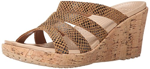 crocs Women's A Leigh Snake Pattern Wedge Sandal, Brown Snake, 11 B(M) - Croc Leather Pattern