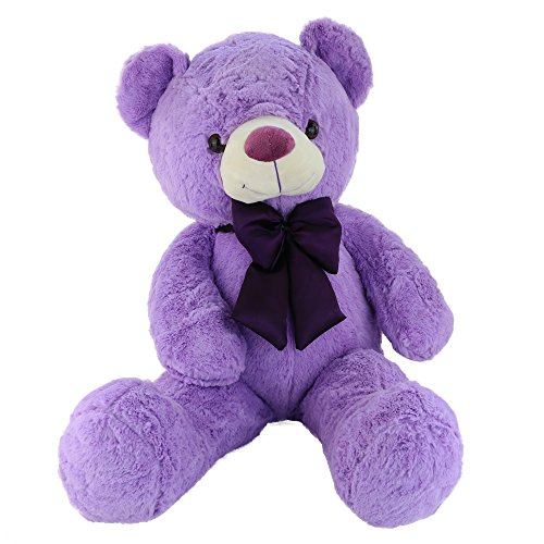 Bstaofy Wewill Cuddly Stuffed Animals Giant Teddy Bear with Violet Bowtie, 31 inch, Purple