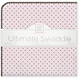 SwaddleDesigns Ultimate Swaddle, X-Large Receiving Blanket, Made in USA Premium Cotton Flannel, Brown Polka Dots on Pastel Pink (Mom's Choice Award Winner)