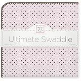SwaddleDesigns Ultimate Swaddle Blanket, Brown Polka Dots, Pastel Pink