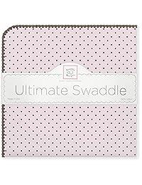 SwaddleDesigns Ultimate Receiving Blanket, Brown Polka Dots, Pastel Pink