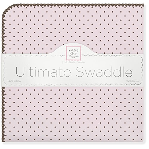 (SwaddleDesigns Ultimate Swaddle, X-Large Receiving Blanket, Made in USA Premium Cotton Flannel, Brown Polka Dots on Pastel Pink (Mom's Choice Award Winner))