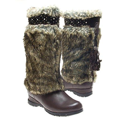 Brown-Vegan-Fur-Rivet-Studded-Flat-Outdoor-Boots