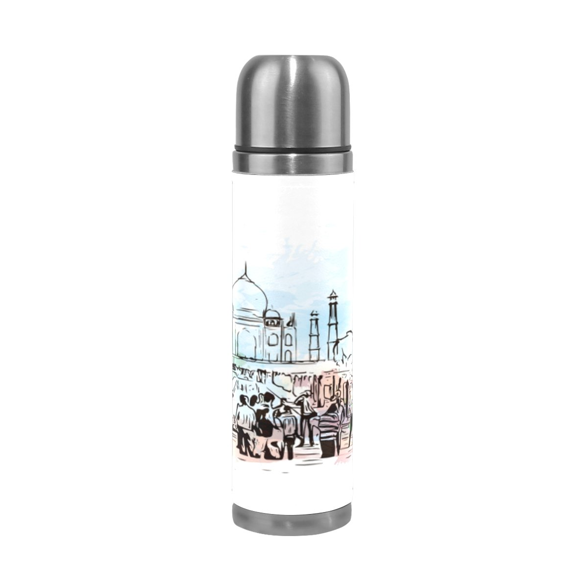 ALAZA India Taj Mahal Stainless Steel Water Bottle Vacuum Insulated Thermos Double Wall Flask Genuine Leather Cover 17 OZ