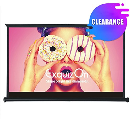 """ExquizOn 50"""" Projector Screen Pull-Out Style 16:9 Matte White Fabric Home Cinema Portable Table-Top Movie Screen by ExquizOn"""