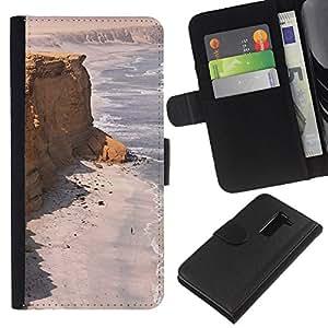 EJOY---La carpeta del tirón la caja de cuero de alta calidad de la PU Caso protector / LG G2 D800 / --Costa Desert Ocean Sand Beach