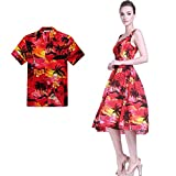 Couple Matching Hawaiian Luau Aloha Shirt Tank Dress in SunRed XL