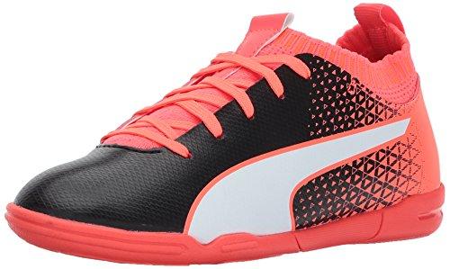 - PUMA Unisex Evoknit FTB IT Kids Soccer Shoe, Black White Fiery Coral, 5 M US Big