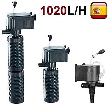 Aleas Filtro bomba de agua para acuario pecera oxigenador sumergible 3 en 1 1020 L/H 1: Amazon.es: Productos para mascotas