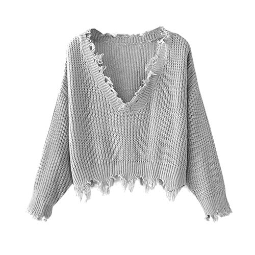 ZAFUL Women's Solid V Neck Loose Sweater Long Sleeve Ripped Jumper Pullover Knitted Crop Top Gray