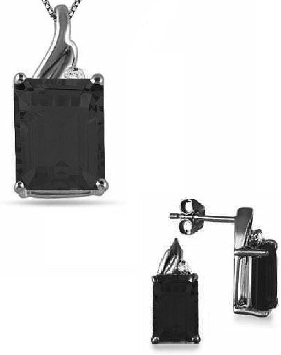 RS joyas 14Kt chapado en oro corte Esmeralda negro Spinel Set de Colgante y Pendientes en plata de ley 925con cadena de 18