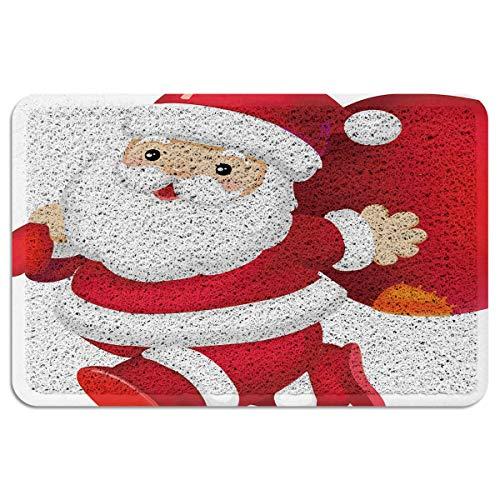 Nebraska Cornhuskers Santa - Duraloop Mesh Outdoor Door Mat & Indoor Welcome Mat Xmas Christmas Theme Santa Claus Carry Presents Aloha Doormat Heavy Duty Rugs Traps Dirt and Liquid - Spongy Comfortable Feel 18x30 Inch