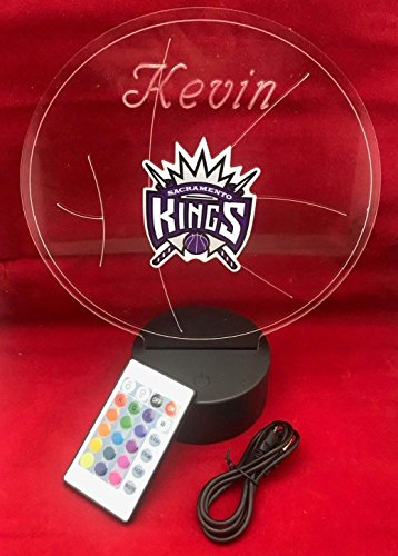 Sacramento Beautiful Handmade Acrylic Personalized Kings NBA Basketball Light Up Light Lamp LED, Our Newest Feature - It's WOW, Comes With Remote,16 Color Options, Dimmer, Free Engraved, Great Gift ()